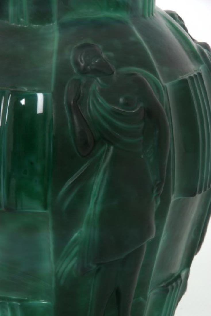 Attr: Schlevogt Art Deco Malachite Glass Vase - 4