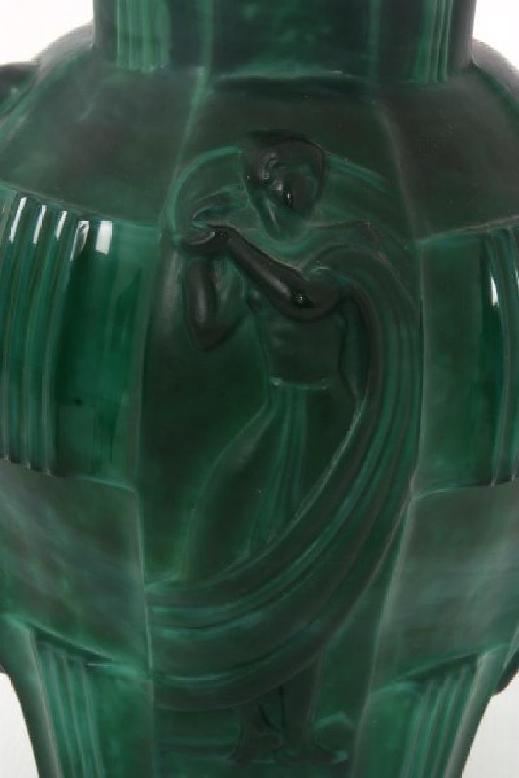 Attr: Schlevogt Art Deco Malachite Glass Vase - 7