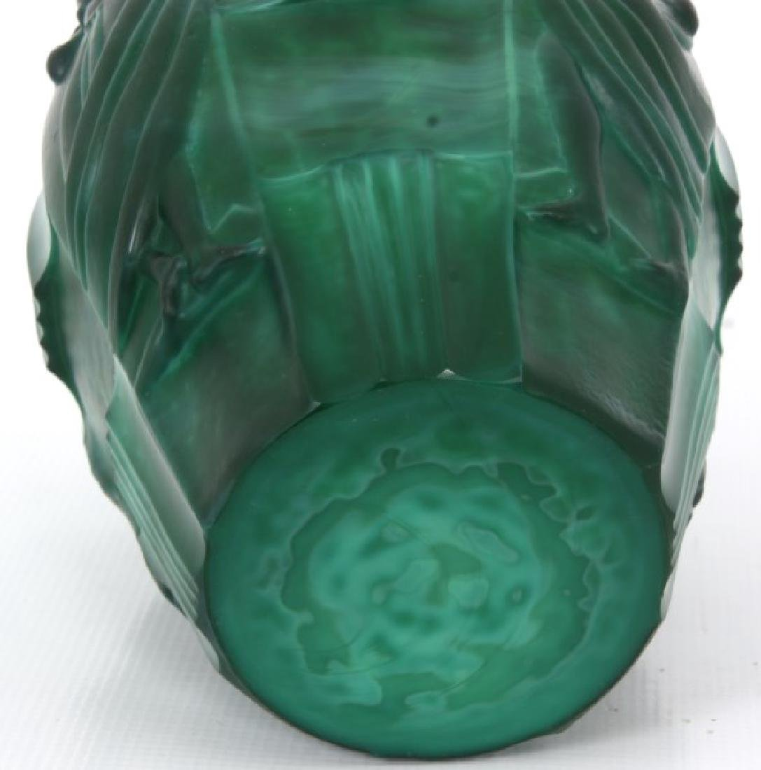 Attr: Schlevogt Art Deco Malachite Glass Vase - 8