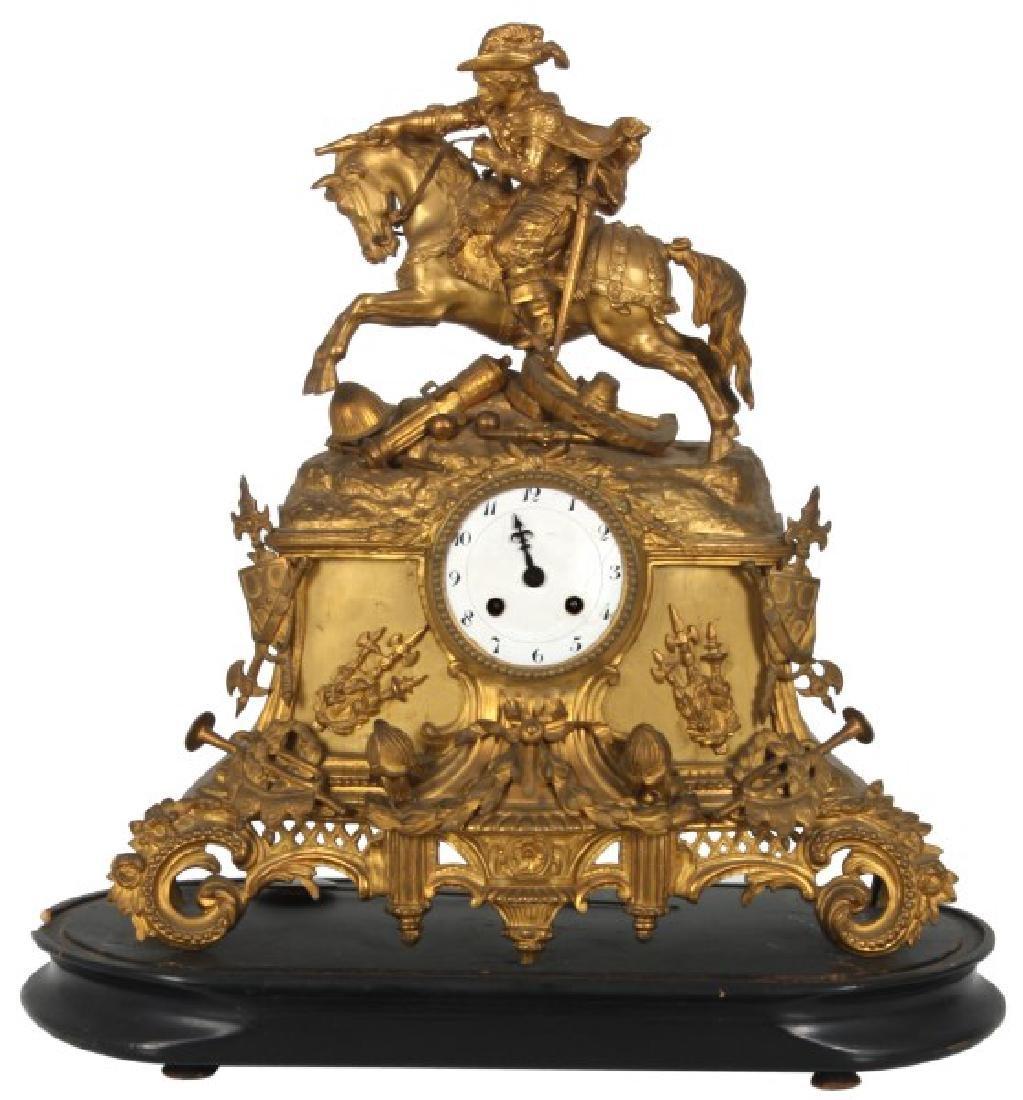 French Silk Thread Bronze Mantle Clock