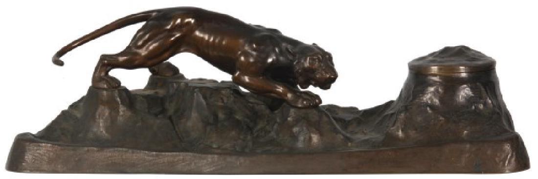 Austrian Figural Bronze Tiger Inkwell
