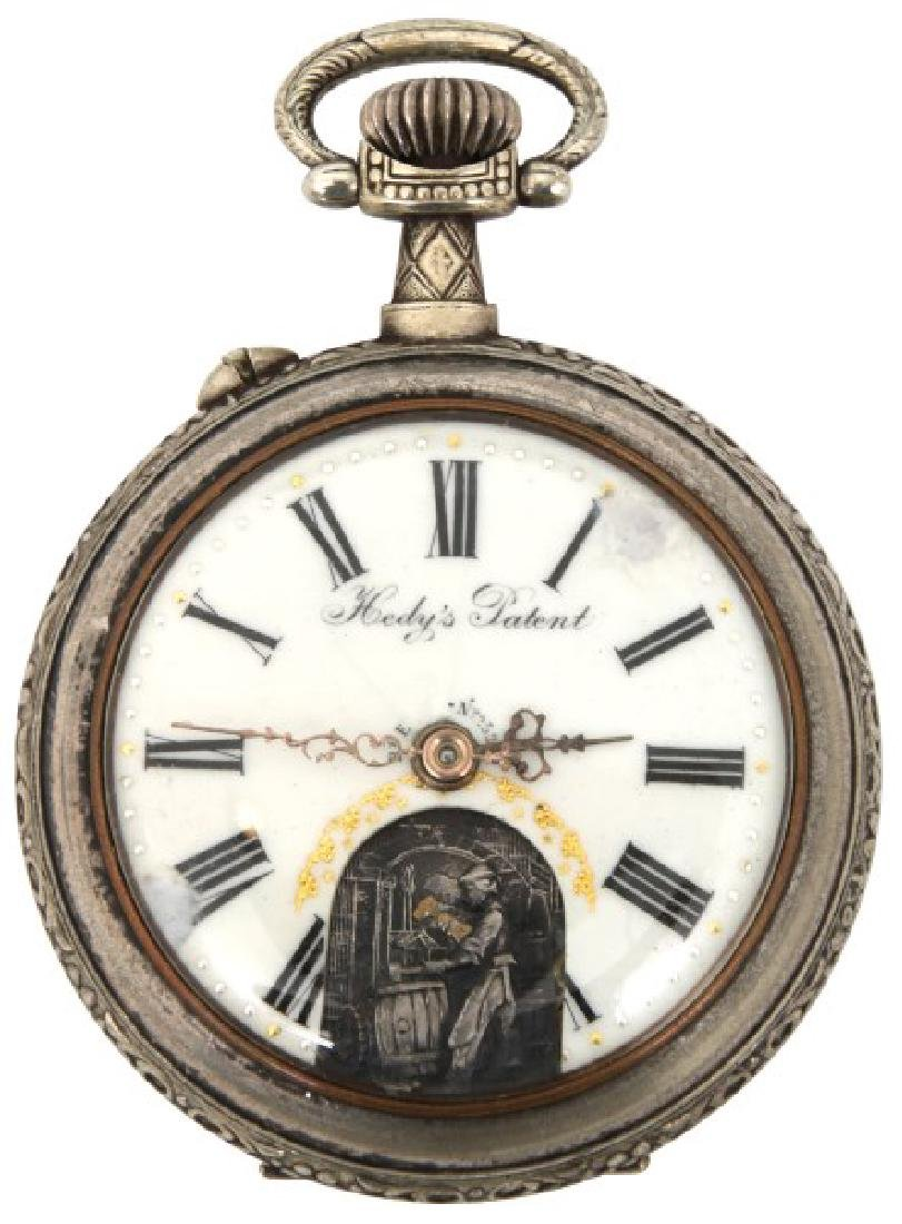 Swiss Animated Open Face Pocket Watch