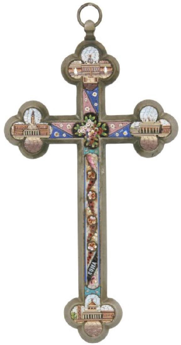 Italian Silver Plated and Micro Mosaic Cross