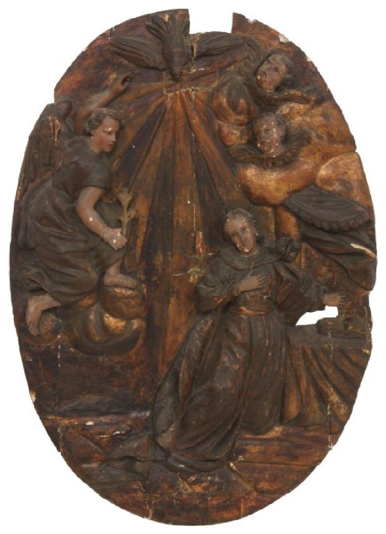 Large Carved Wood & Gesso Wall Plaque