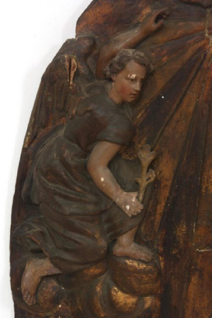 Large Carved Wood & Gesso Wall Plaque - 2