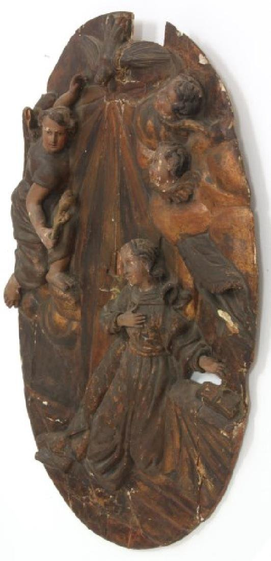 Large Carved Wood & Gesso Wall Plaque - 6