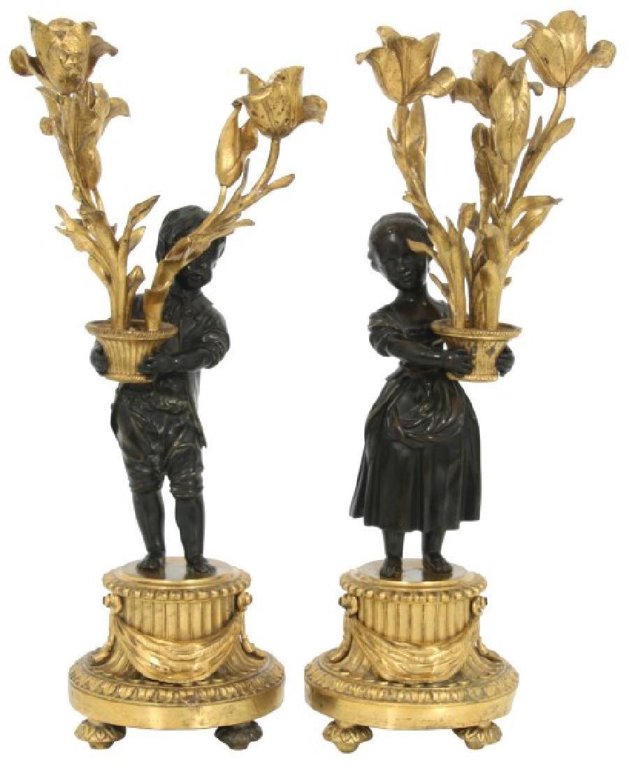Pr. Bronze Figural 3 Arm Candelabra