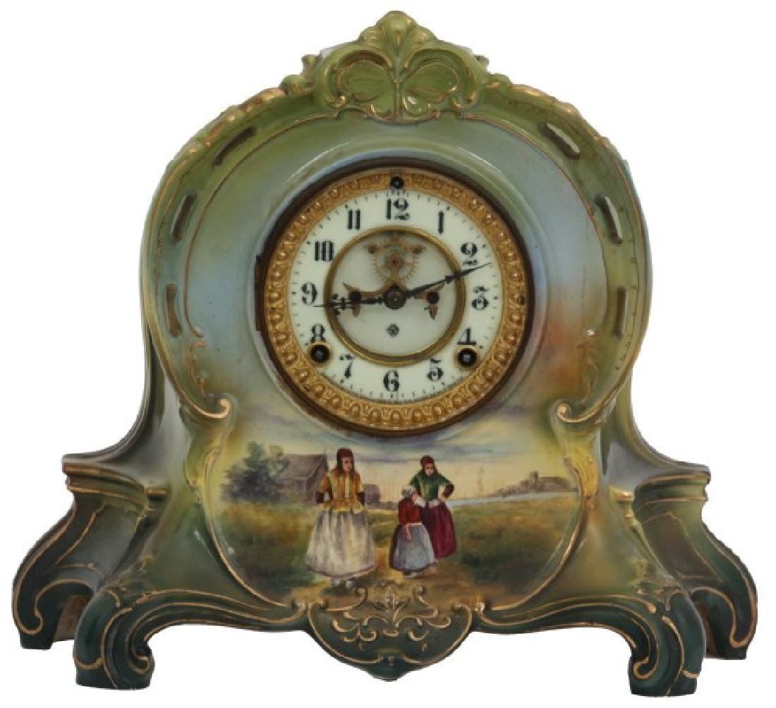Ansonia & Royal Bonn Porcelain Mantle Clock