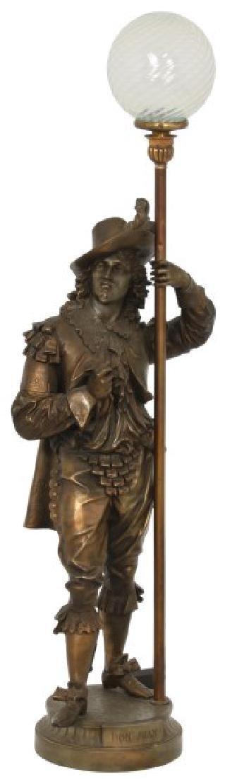 Lg. Figural Don Juan Newel Post Lamp