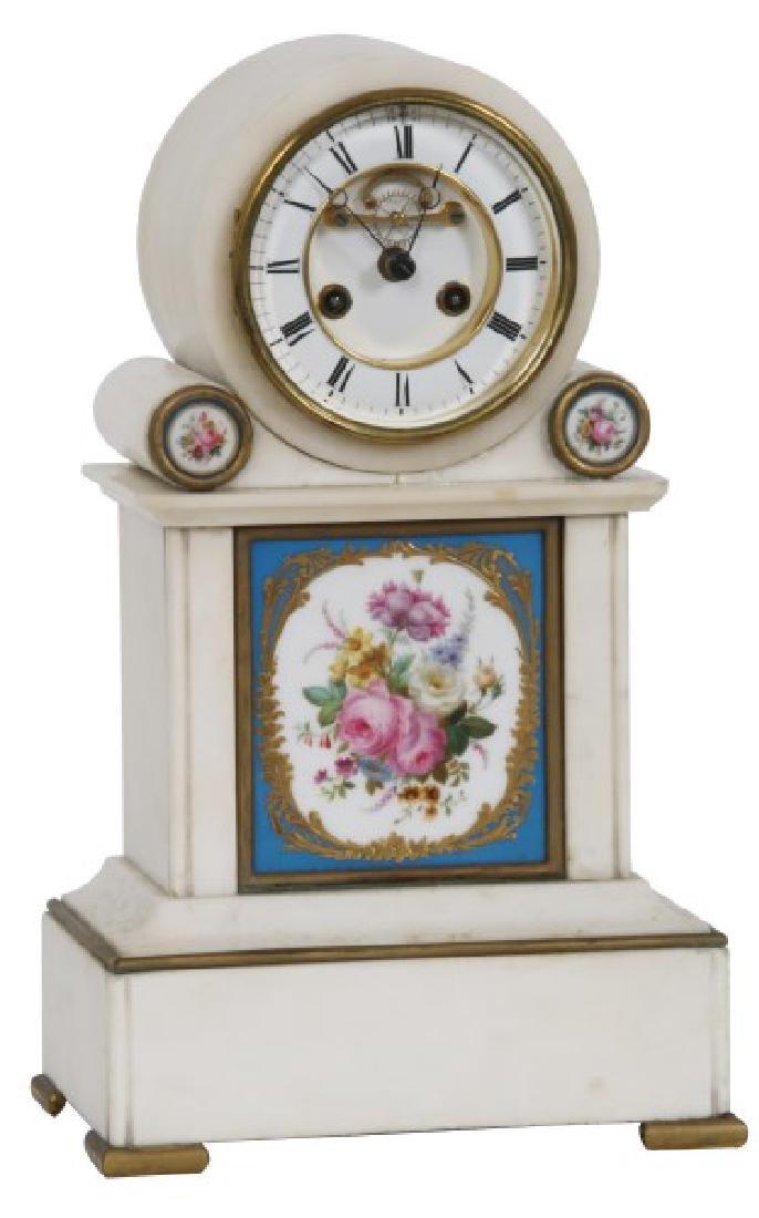 Brocot Alabaster & Porcelain Mantle Clock