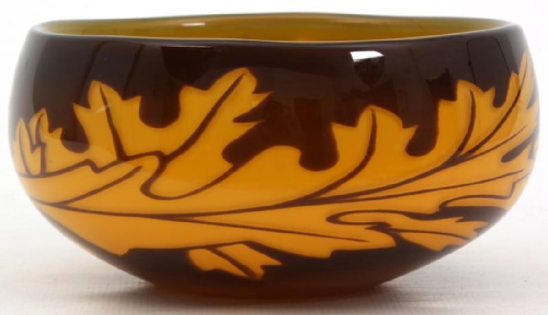 Orrefors Leaf Decorated Glass Bowl