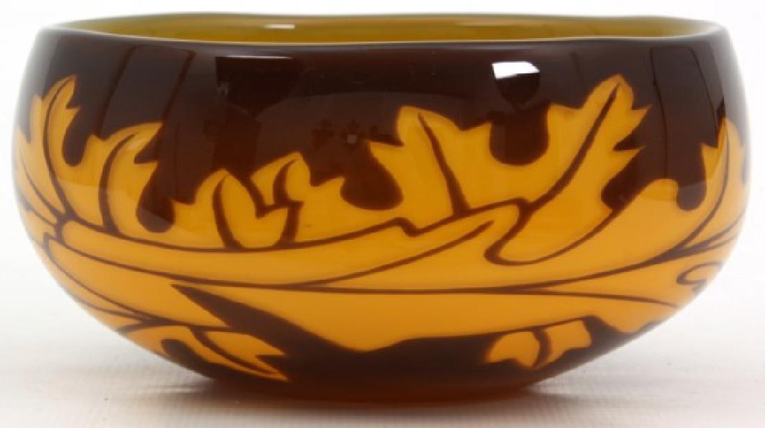 Orrefors Leaf Decorated Glass Bowl - 2