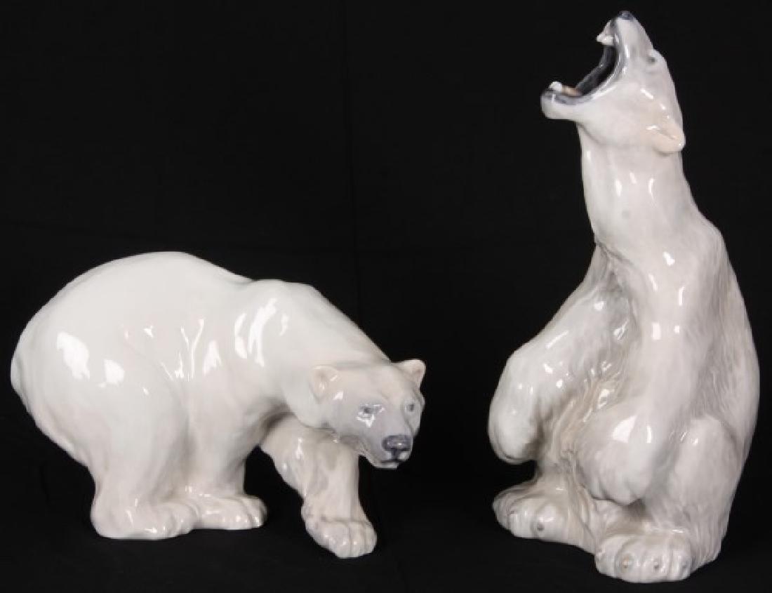 2 Royal Copenhagen Polar Bear Figures