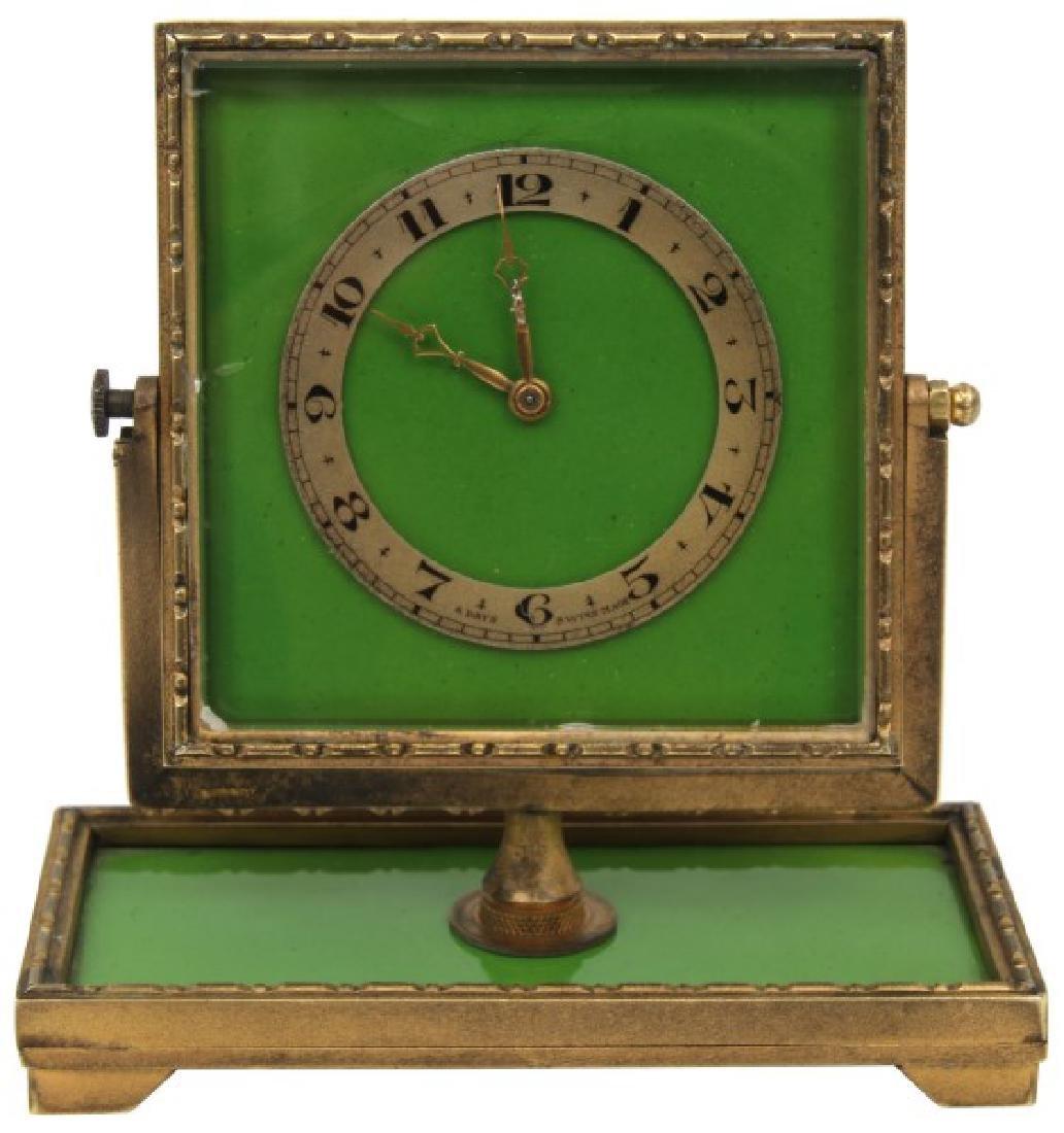 Bronze and Enamel Desk Clock