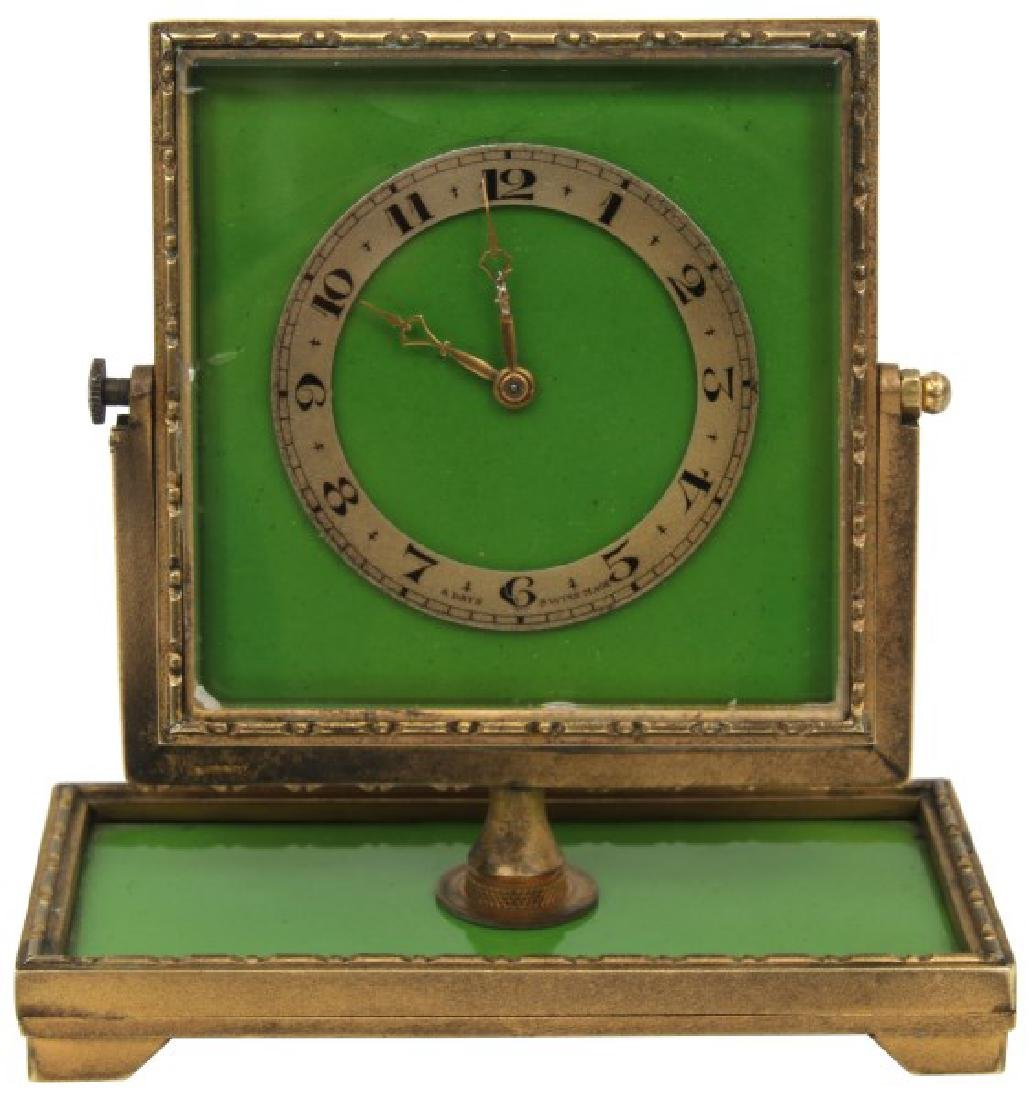 Bronze and Enamel Desk Clock