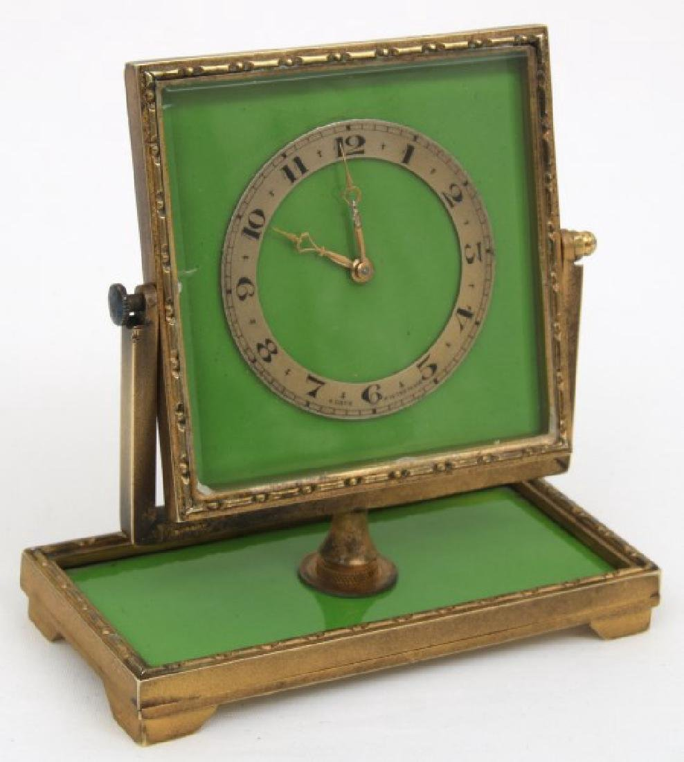 Bronze and Enamel Desk Clock - 2