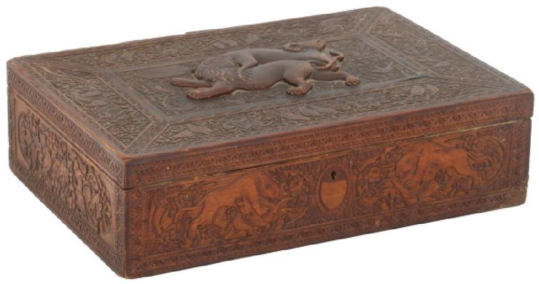 Asian Figural Carved Wood Box