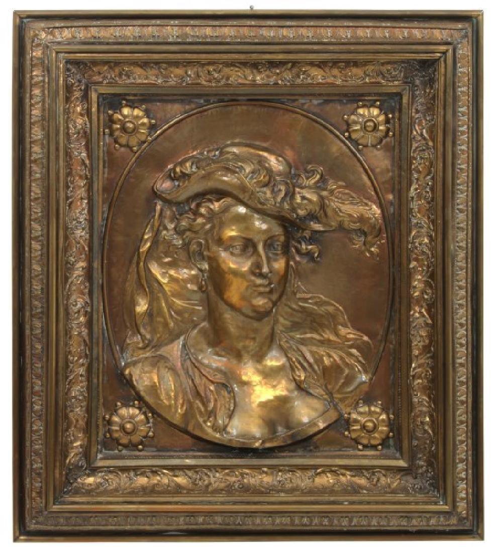 Lg. Brass Repousse Self Framed Hanging Portrait