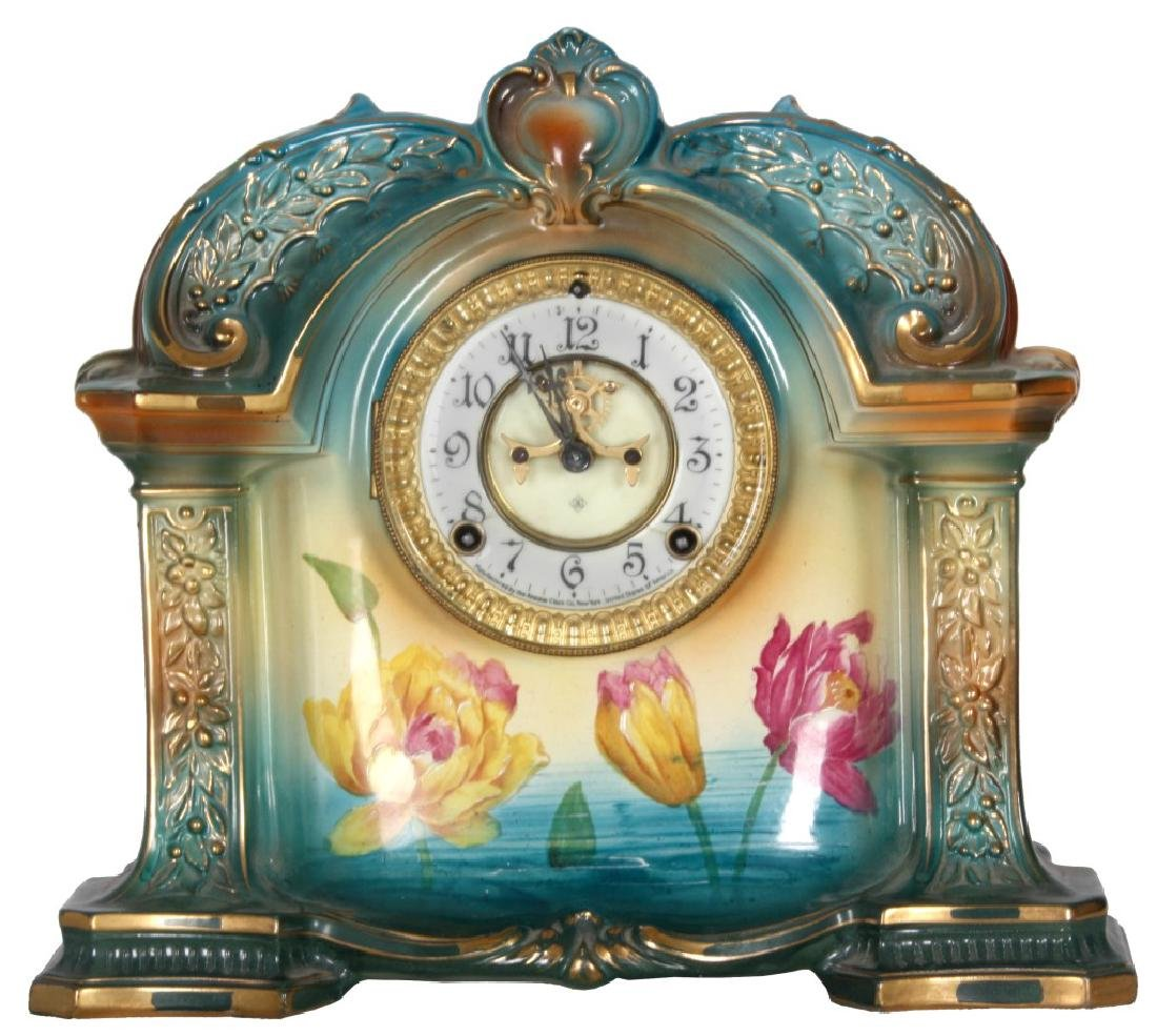 "Ansonia Royal Bonn China Clock ""La Orb."""