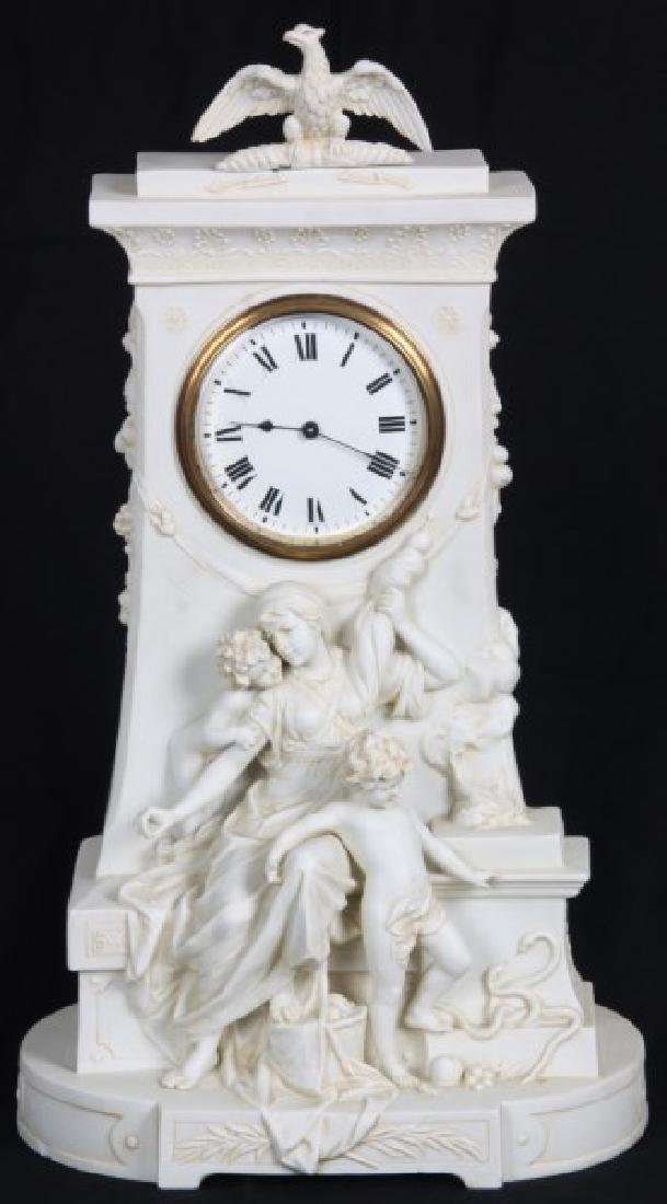 Parian Figural Mantle Clock