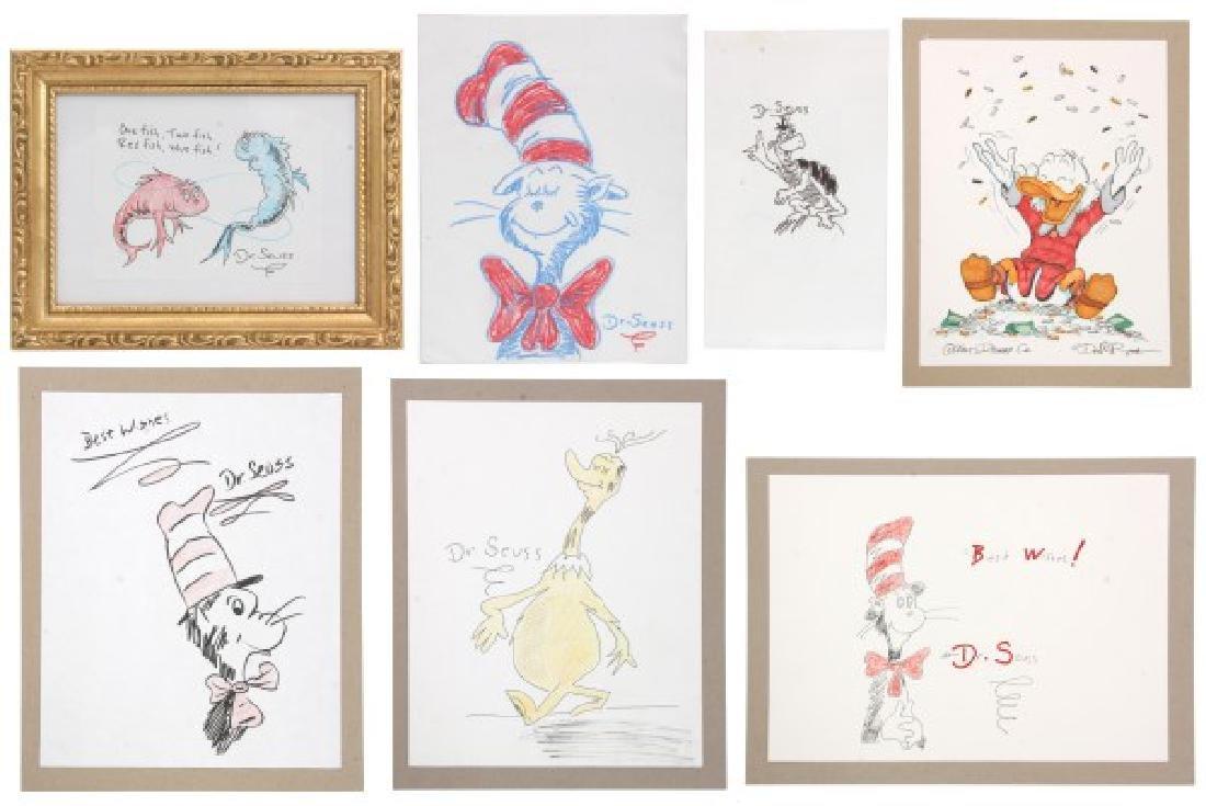 7 Artist Signed Cartoon Drawings
