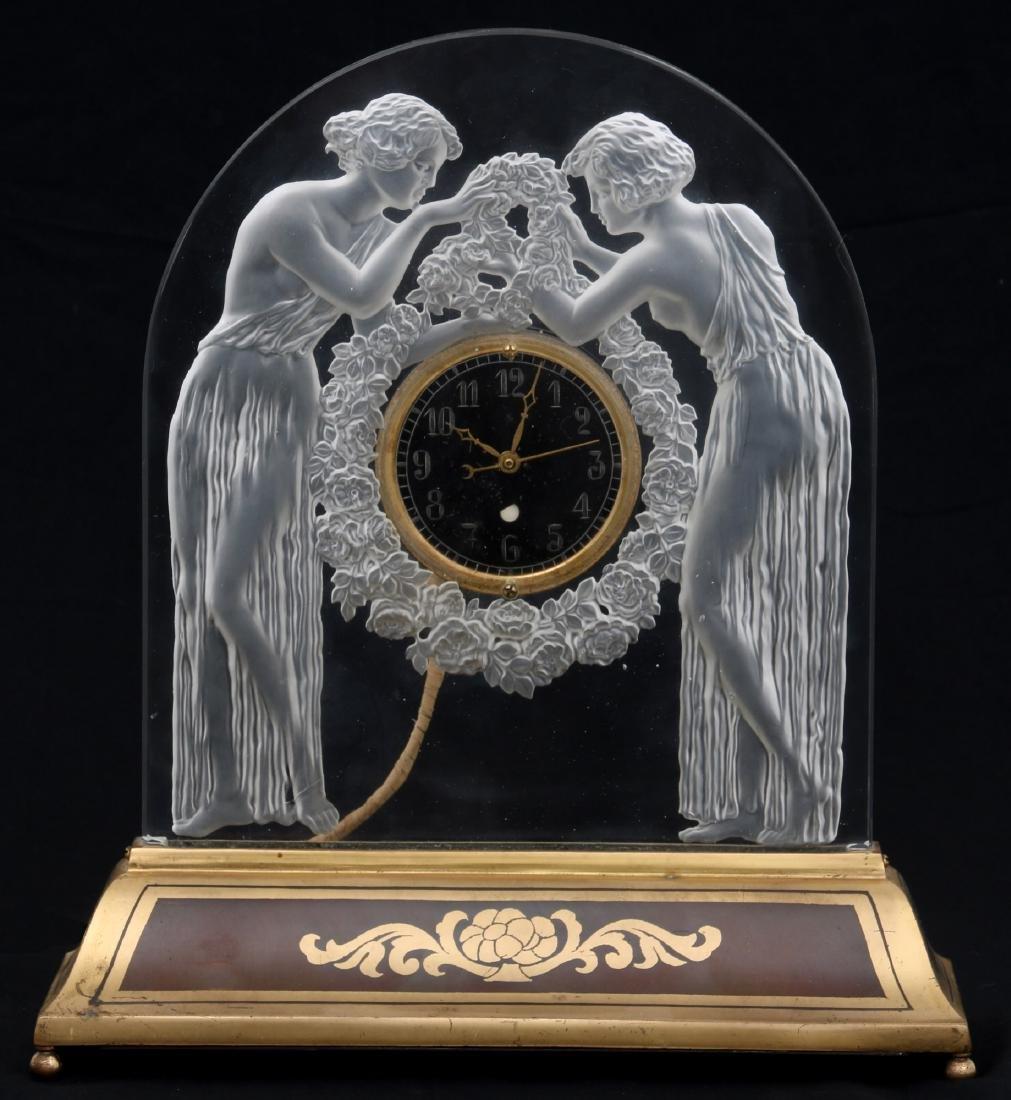 "Lalique ""Deux Figurines"" Clock"