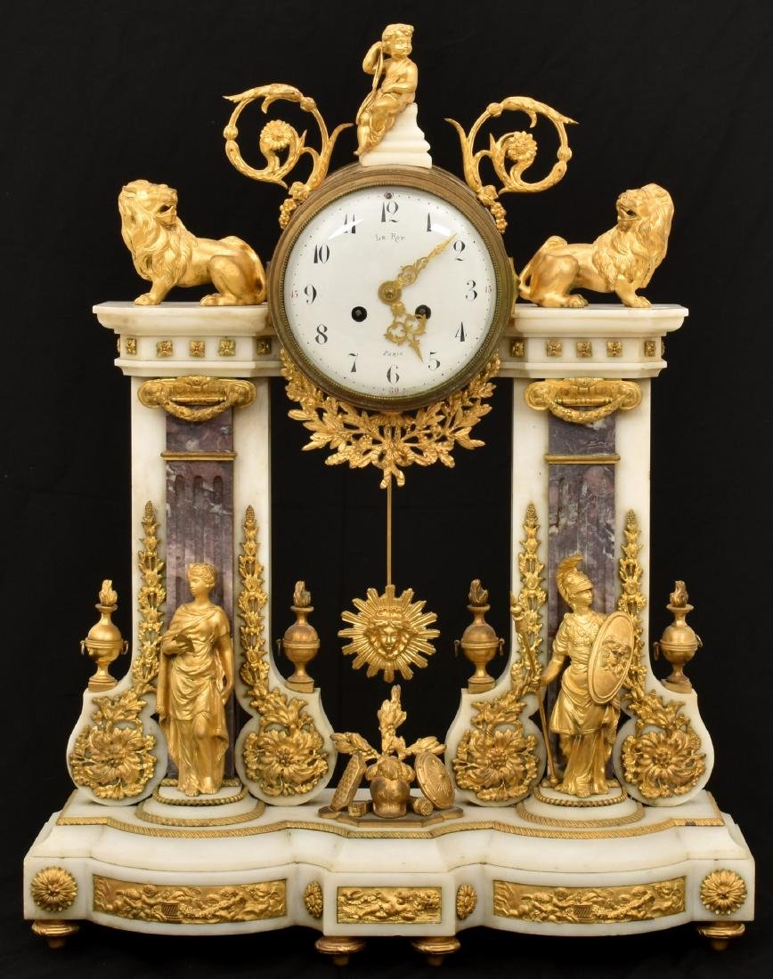 Elaborate French Marble & Bronze Mantle Clock