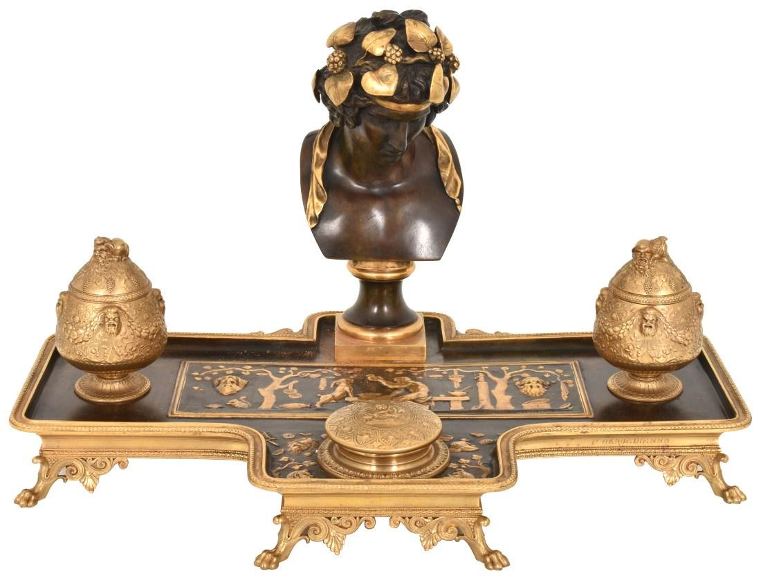 F. Barbedienne Figural Bronze Ink Stand