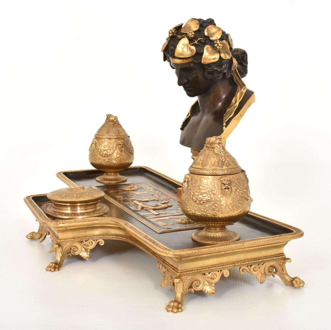 F. Barbedienne Figural Bronze Ink Stand - 7