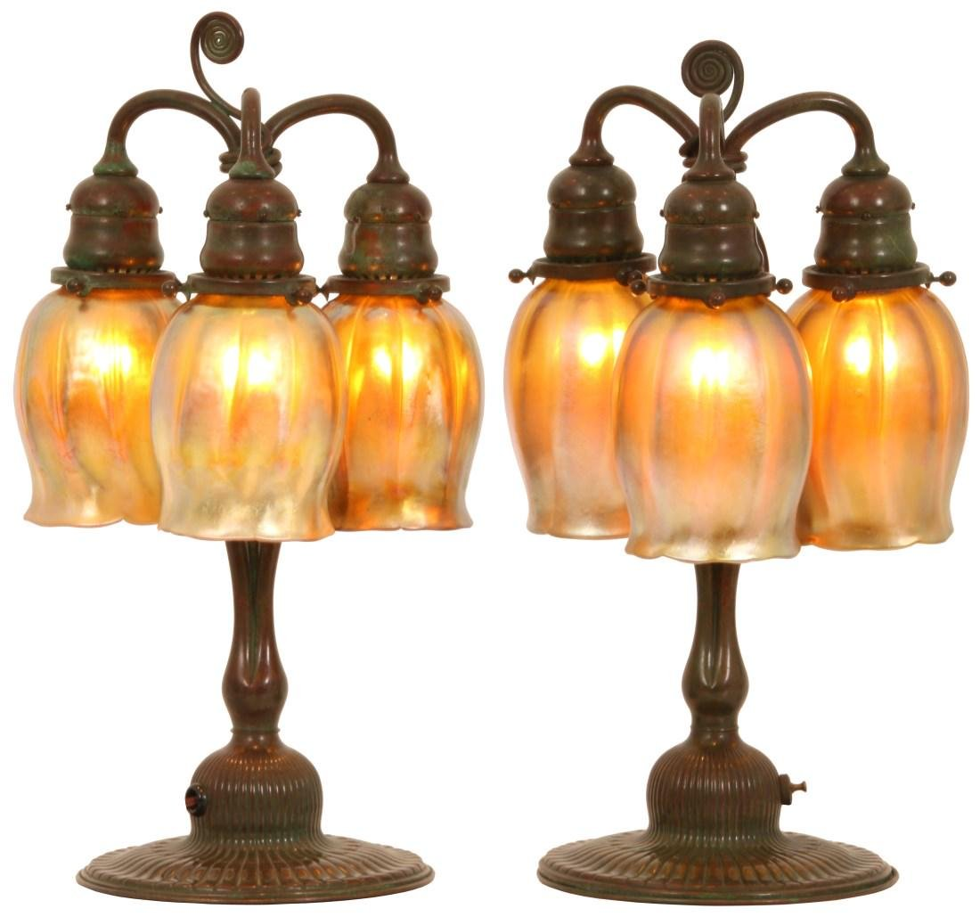 Pr. of Tiffany Studios 3 Light Tulip Table Lamps