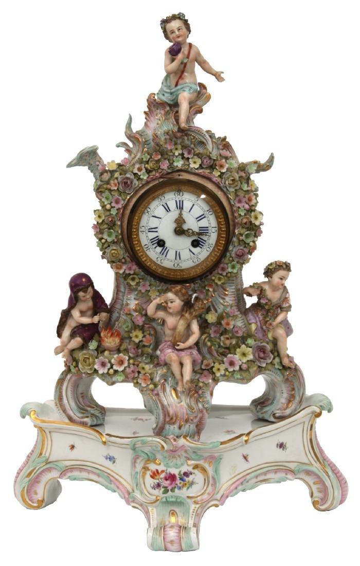 Meissen 4 Seasons Mantle Clock On Base