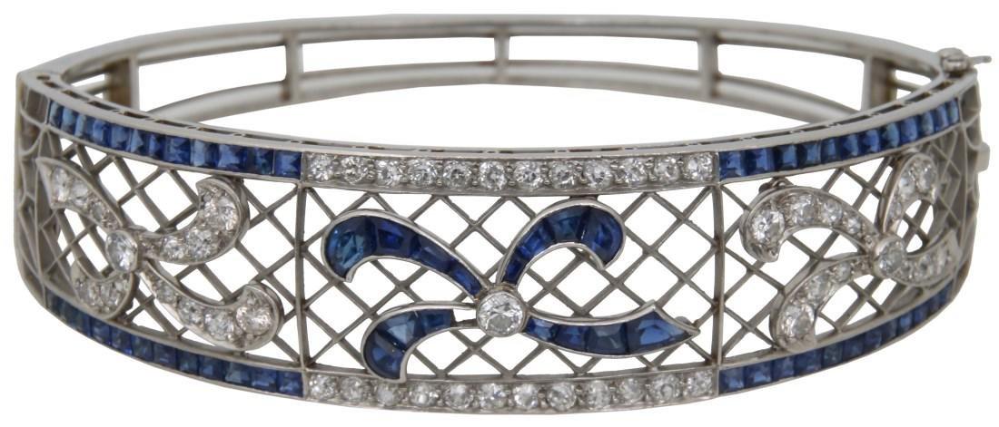 Diamond & Sapphire Platinum Bracelet