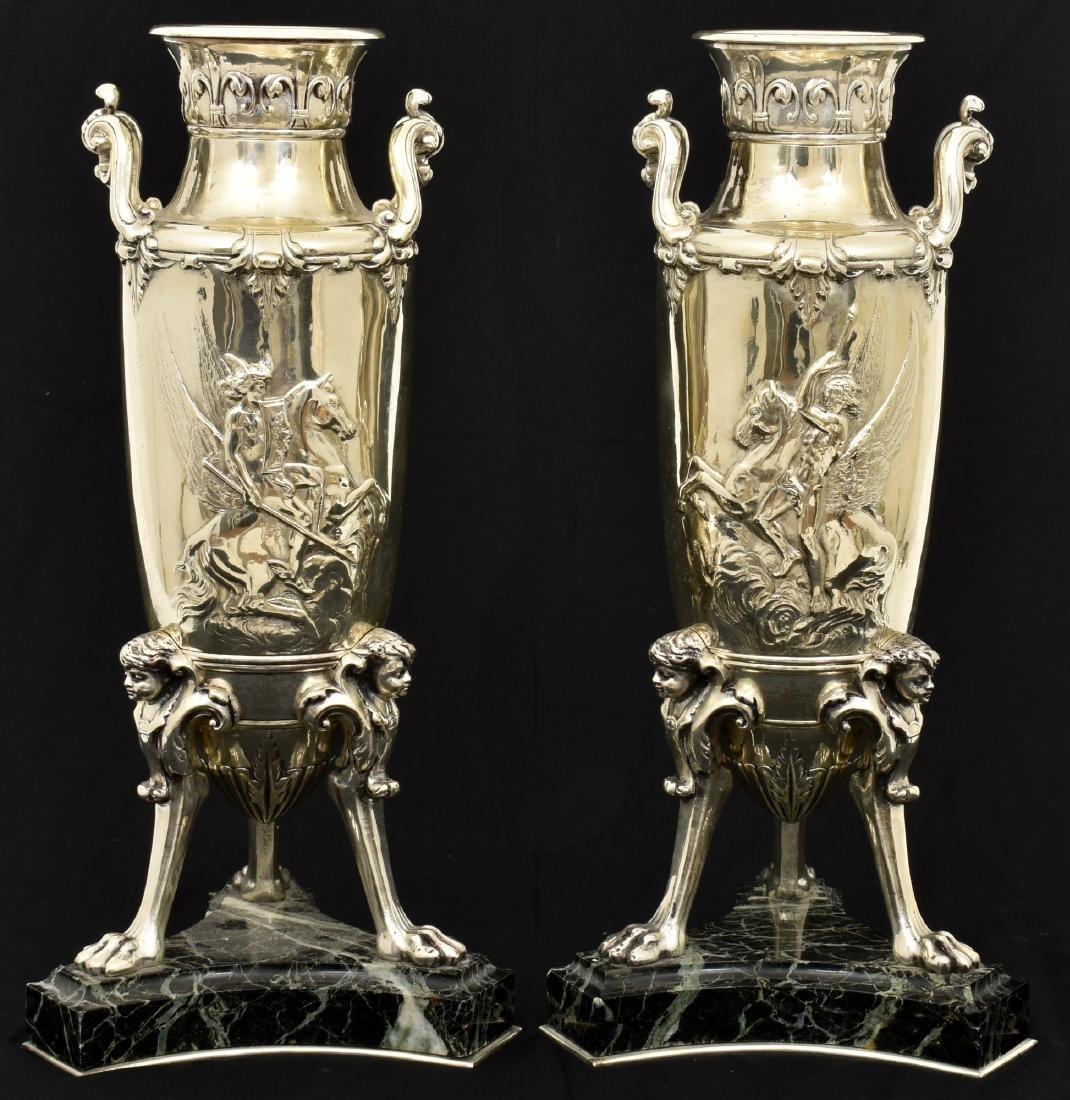 Pr. Silver Plated Bronze Vases Attr. Barbedienne