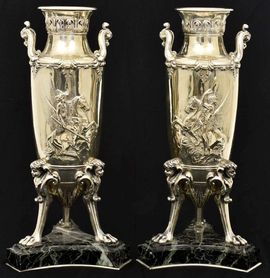 Pr. Silver Plated Bronze Vases Attr. Barbedienne