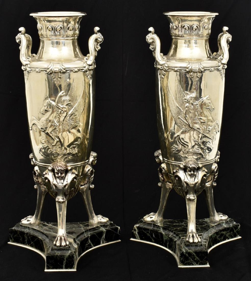 Pr. Silver Plated Bronze Vases Attr. Barbedienne - 2
