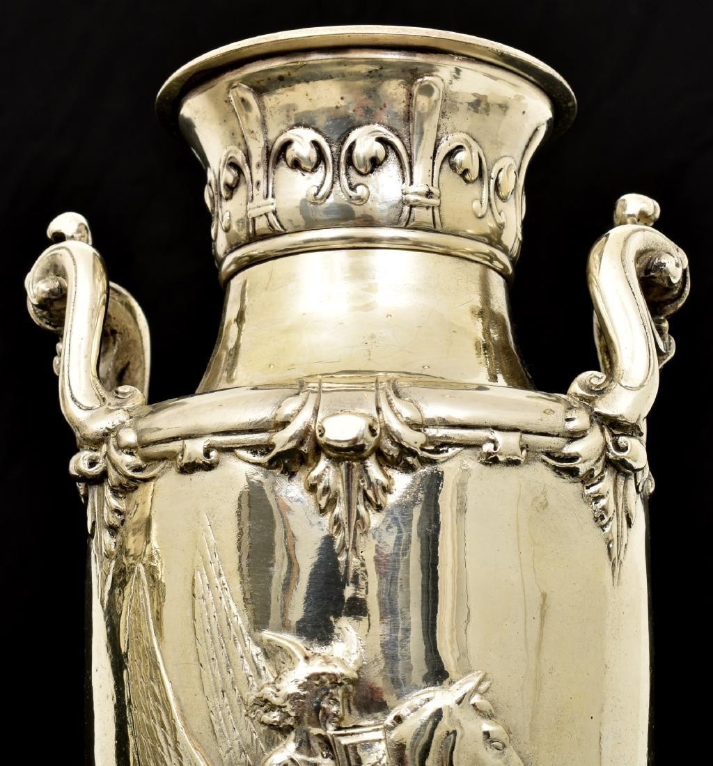 Pr. Silver Plated Bronze Vases Attr. Barbedienne - 5