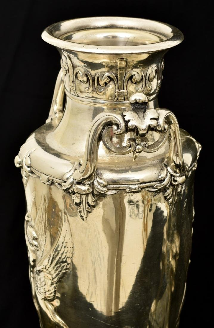 Pr. Silver Plated Bronze Vases Attr. Barbedienne - 6