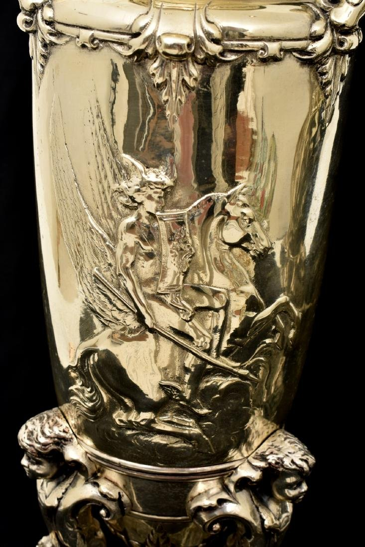 Pr. Silver Plated Bronze Vases Attr. Barbedienne - 8