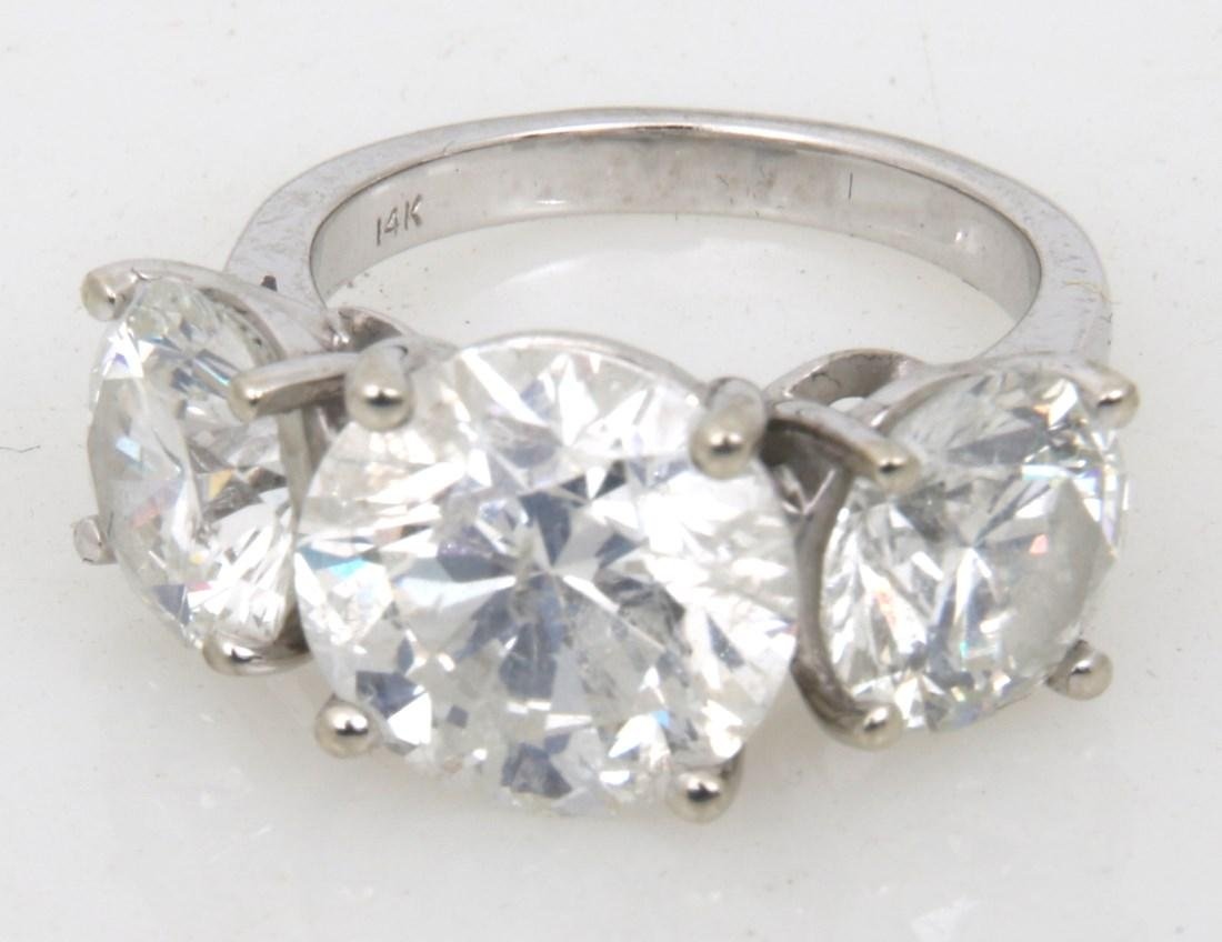 14K Gold Ring w/ 3 Prong Set Diamonds, 9.46 ct. - 4