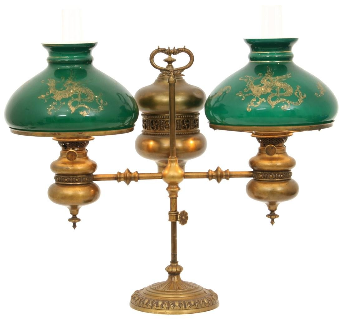 Brass Double Student Lamp w/ Cased Shades