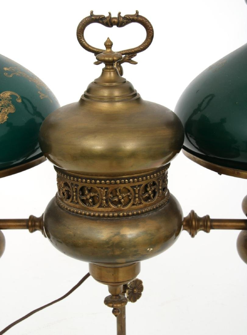 Brass Double Student Lamp w/ Cased Shades - 3