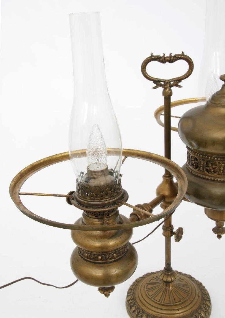 Brass Double Student Lamp w/ Cased Shades - 7