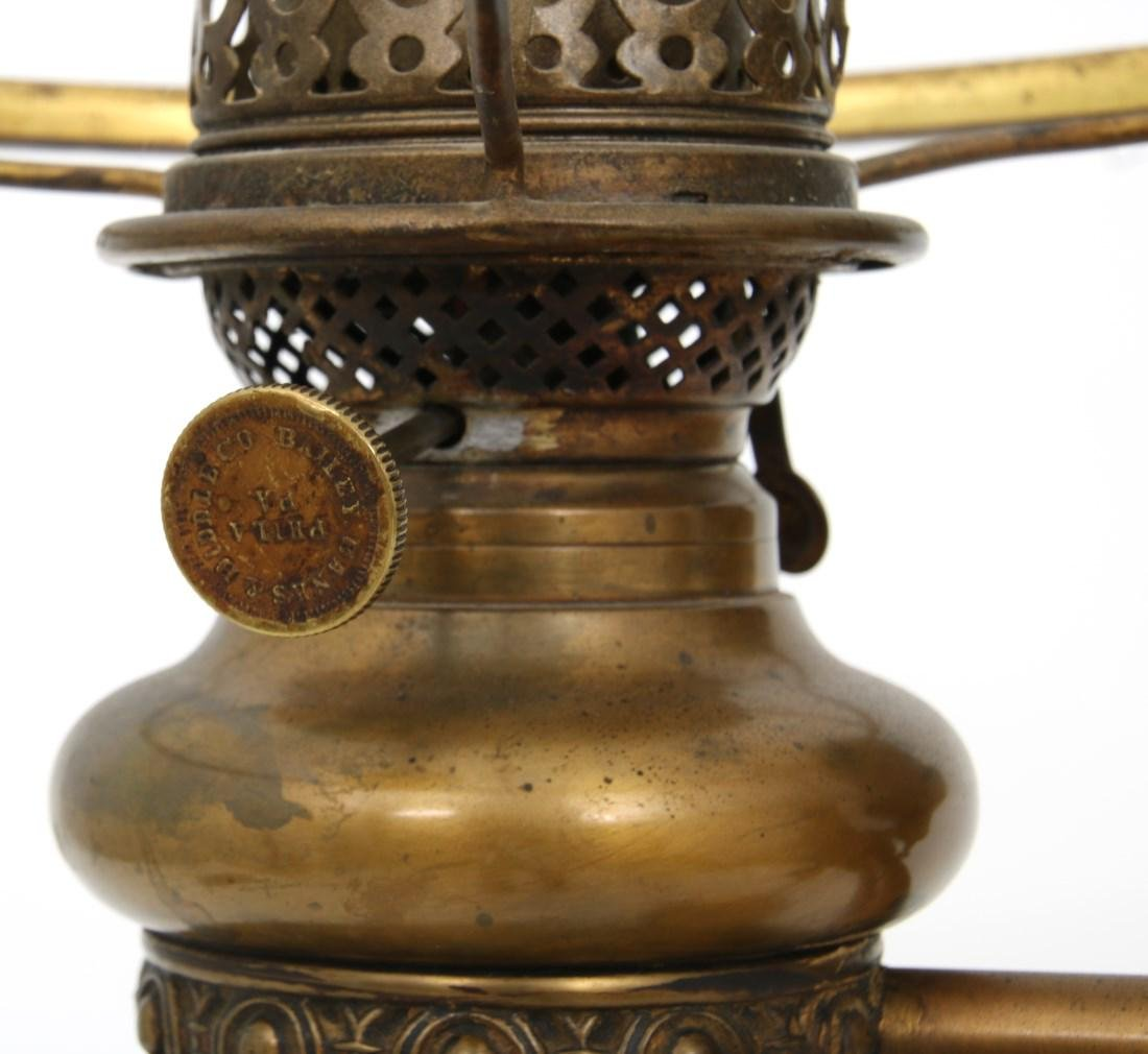 Brass Double Student Lamp w/ Cased Shades - 9