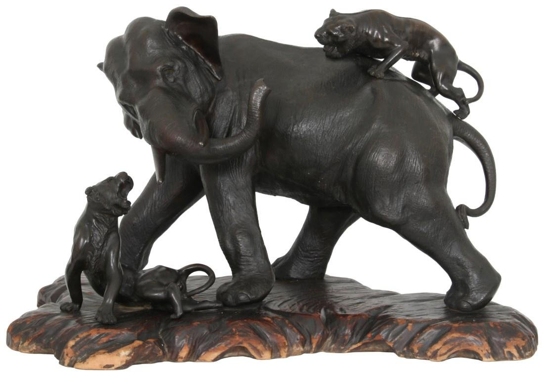 Monumental Meiji Bronze Elephant and Tigers
