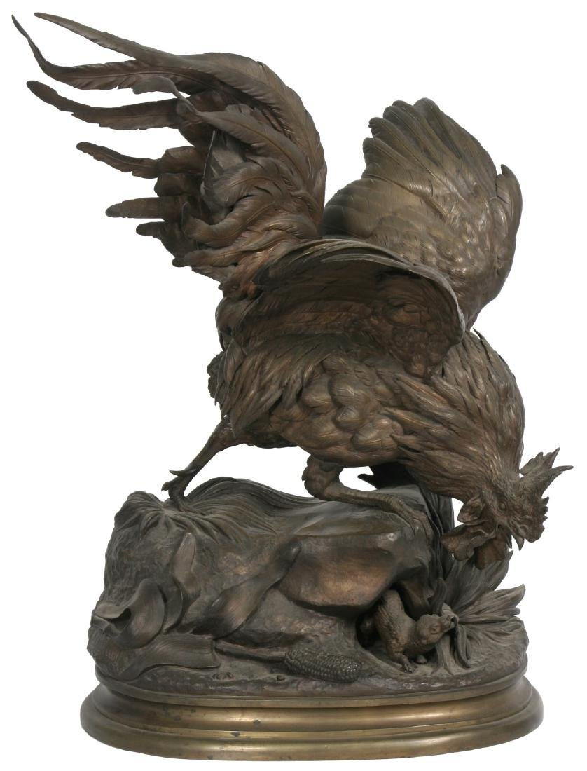 Jules Moigniez Large Figural Bronze Rooster