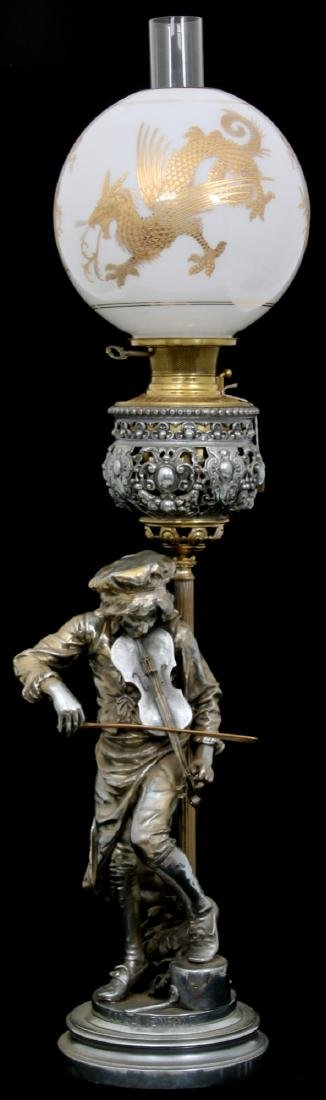 Figural Silver Plated Banquet Lamp