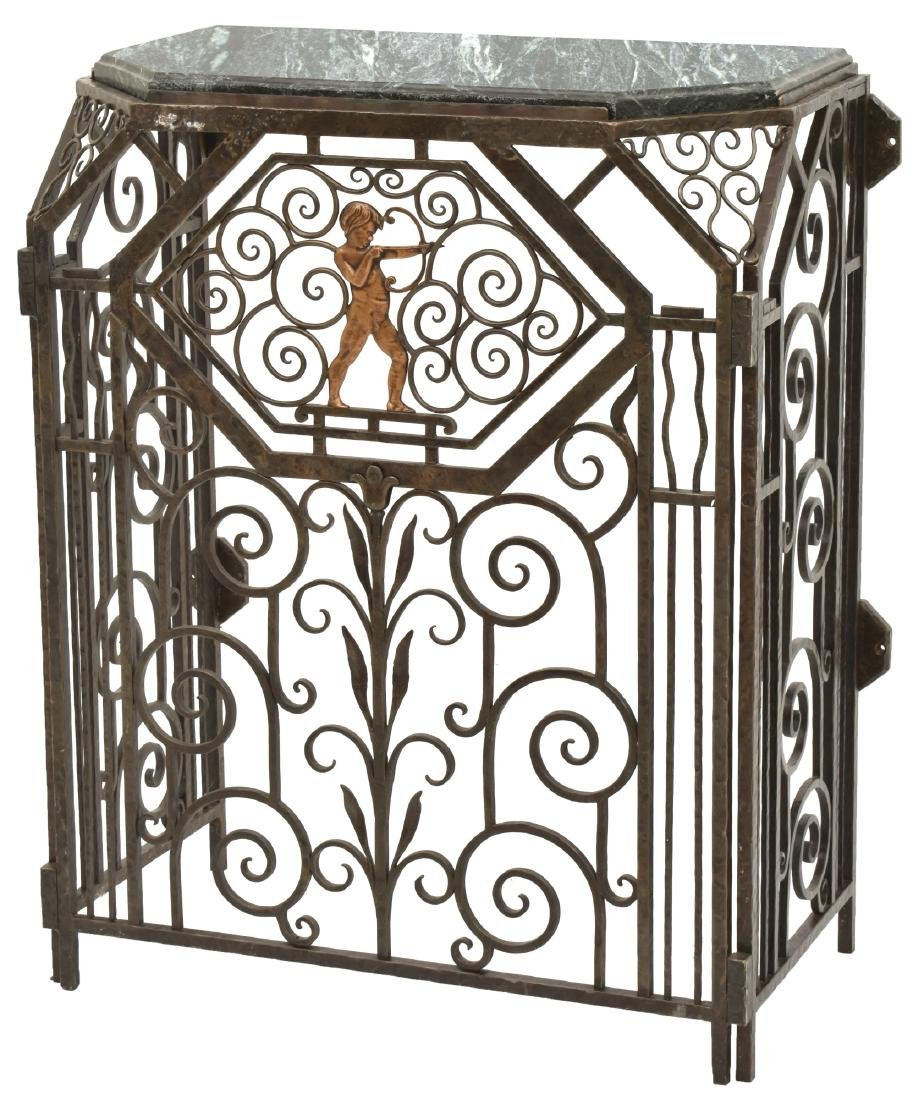Wrought Iron Marble Top Wall Console