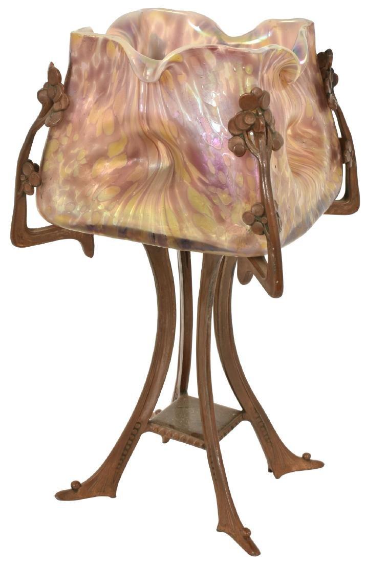 Unusual Bohemian Art Glass Boudoir Lamp