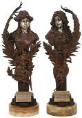 Pr. Carl Kauba Bronze Allegorical Sculptures