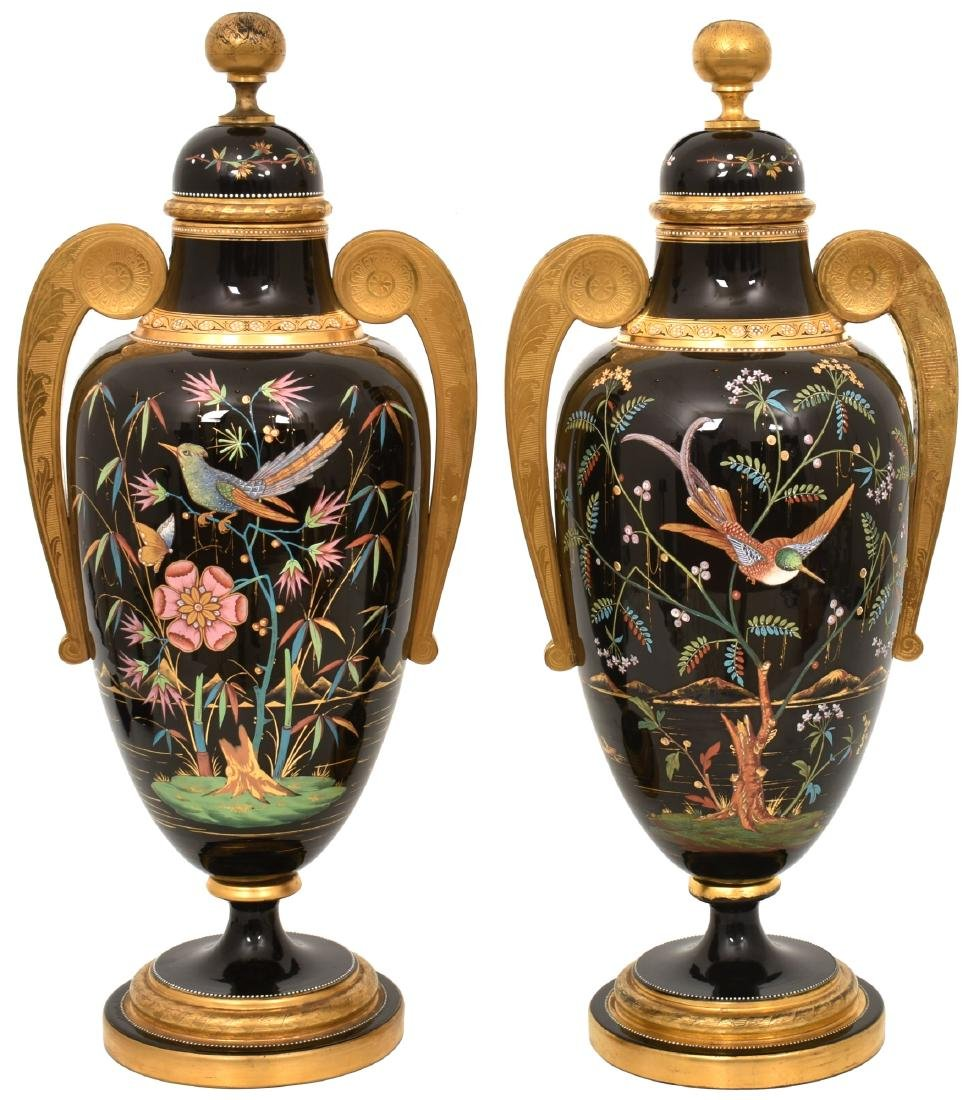 Pr. Enamel Decorated Amethyst Glass Covered Urns
